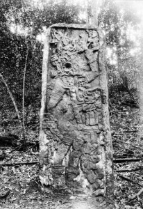 Cover Photo, Xultun Stela 12, the current location of this stela is unknown (in situ, Carnegie Institute)